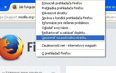 Podvodná stránka nahlásená vo Firefox