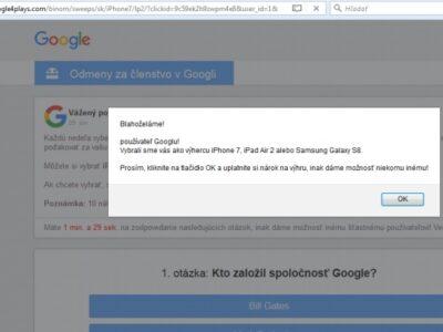 Podvodné súťaže Google presmerované z onclkds.com