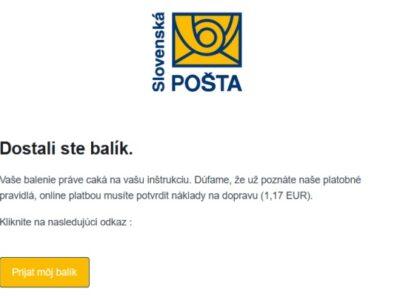 Slovenská pošta, falošná výzva na úhradu